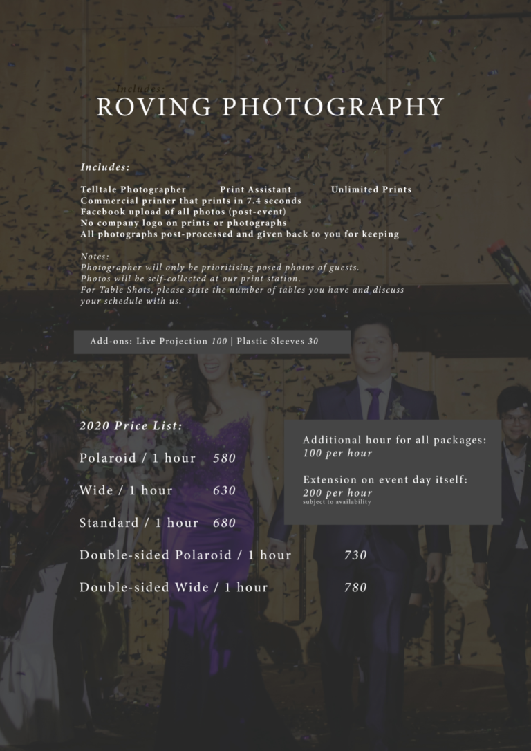 Telltale roving photography 2020 package rates